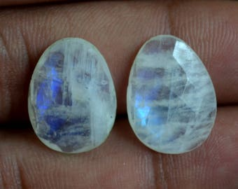 Unique Natural Rainbow Moonstone1 Matched Pair Faceted  Loose Gemstone Size 17x13x5mm/ 15 cts semi precious