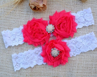 Wedding Garter Pink, White Garter Set, Pink Bridal Clothing, Hot Pink Garter, Gift For Brides, Lace Garter Red, Garters, White Keep Garter