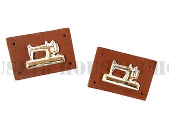 25 PCS Genuine Leather Label with Metal Decal Real Leather Label with Holes | Brown Color