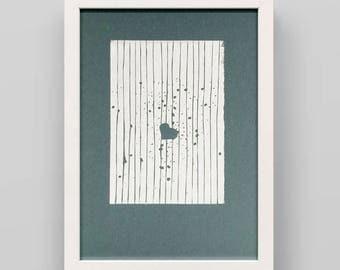 Linocut print heart