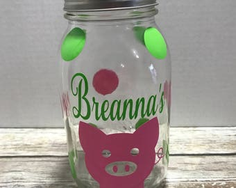 Personalized Mason Jar Piggy Bank, Custom Piggy Bank, Kid's Piggy Bank, Baby Shower Gift, Mason Jar Bank, Rainy Day Funds, Savings Jar