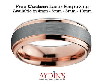 Mens and Womens Tungsten Wedding Band - 6mm Ring - 18K Rose Gold Tungsten - Beveled Edge - Brushed and Polished - Mens Wedding Band Tungsten