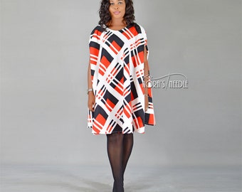 Cape Dress/ Vintage Cape Dress/ Cape Coat/ Crepe Cape Coat/ Check Cape Dress/ African Dress