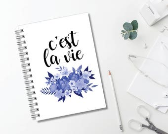 C'est La Vie Journal // Minimalist // Typography // Fashion // Scandinavian // Diary // Planner // Modern Office // Personalized
