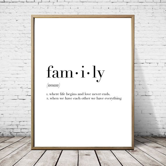 Family definition print minimalist poster wall art print for Minimal art family