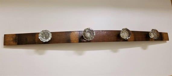 Glass and Wood Coat Rack - Barrel Wood and Vintage & Antique Glass Door Knob Handles