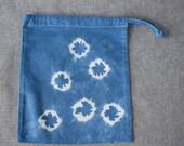 Indigo shibori single skein project bag ne maki bound Knitting Bag Crochet Bag Yarn Bag Project Bag Sock knitting bag Drawstring Bag