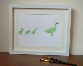 Made to Order ORIGINAL Watercolour Duck Family 'Waddle My Way'- Custom Colours available
