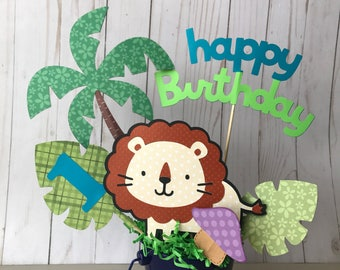 Lion birthday centerpiece, jungle themed birthday party decor, boy's 1st birthday party, safari animals themed birthday party