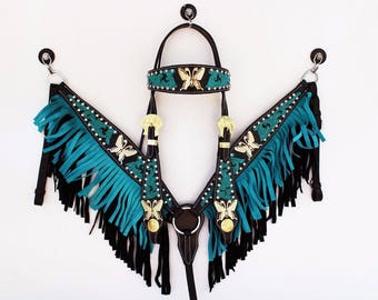 Turquoise Fringe Gold Butterfly Western Show Leather Barrel Racing Racer Bridle Headstall Breast Collar Tack Set Real Swarovski Crystals