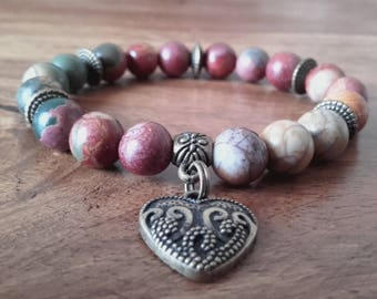 "Bracelet ""Vitality"" Jasper Picasso beads and medal in bronze, about 19 cm"