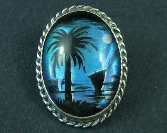 Vintage Sterling Silver Butterfly Wing Brooch Pin Palm Boat Full Moon Sea Silhouette