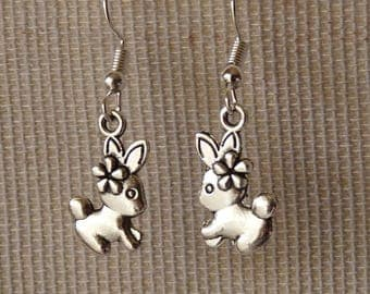 Rabbit Earrings, Bunny Earrings, Rabbit Charm Earrings, Easter Jewelry, Stainless Steel Fish Hook Earrings + Rubber Backs, Animal Jewelry