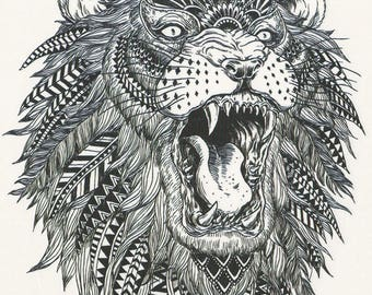 African costume etsy for Black and white lion tattoo