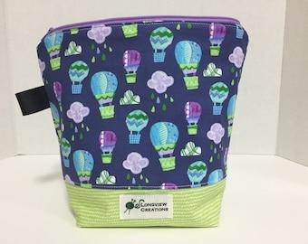 Wedge Bag, Knitting Project Bag, Zipper Bag, Sock Size, Hot Air Balloons
