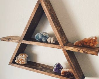 "The ""Logo"" Shelf, Triangle Wood Shelf, Geometric Wood Wall Shelf, Rustic Wall Decor, Bohemian Decor, Crystal Display Shelf, Succulent Shelf"