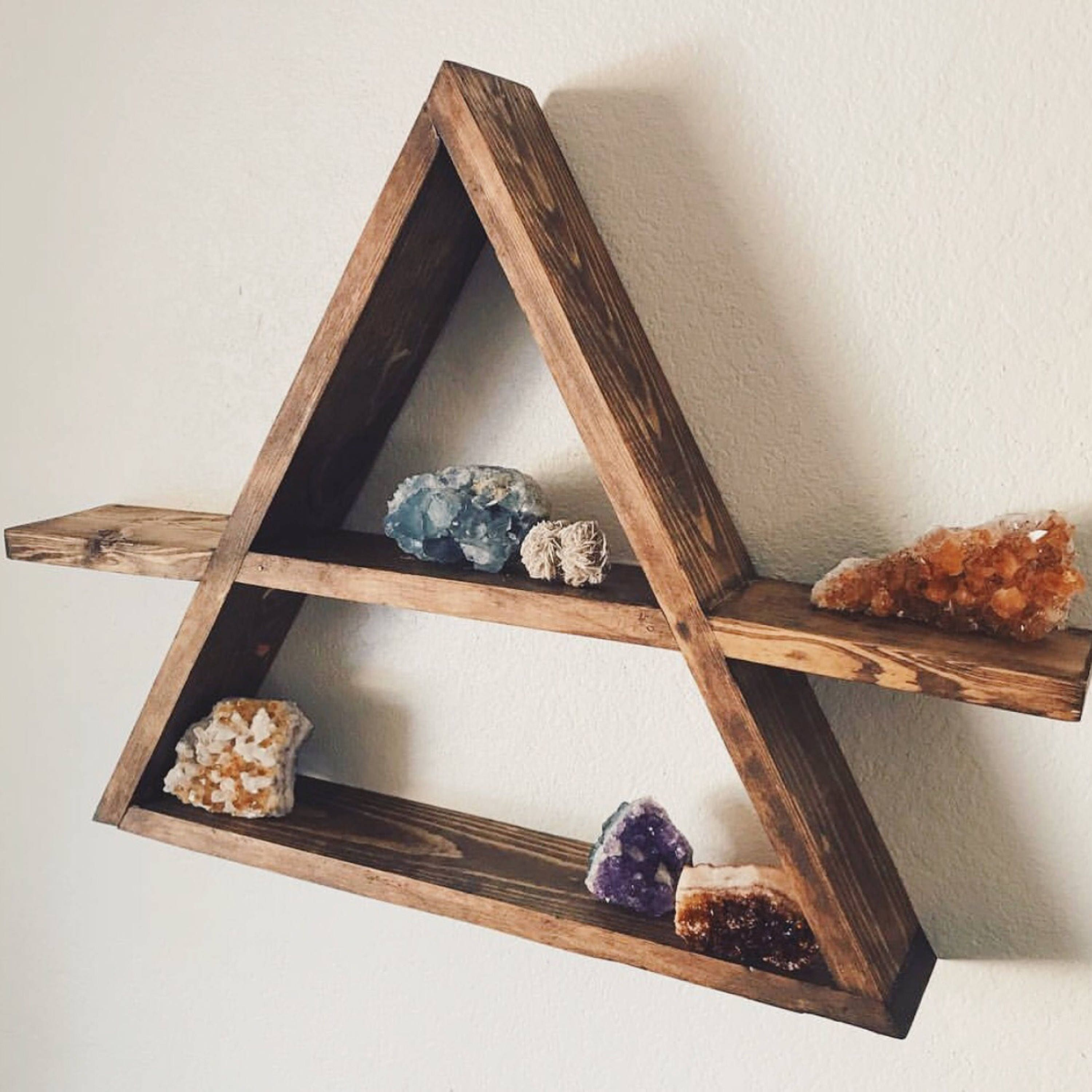 Triangle wood shelf geometric wood wall shelf rustic wall zoom amipublicfo Gallery