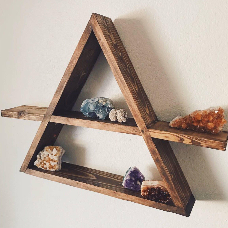 triangle wood shelf geometric wood wall shelf rustic wall. Black Bedroom Furniture Sets. Home Design Ideas