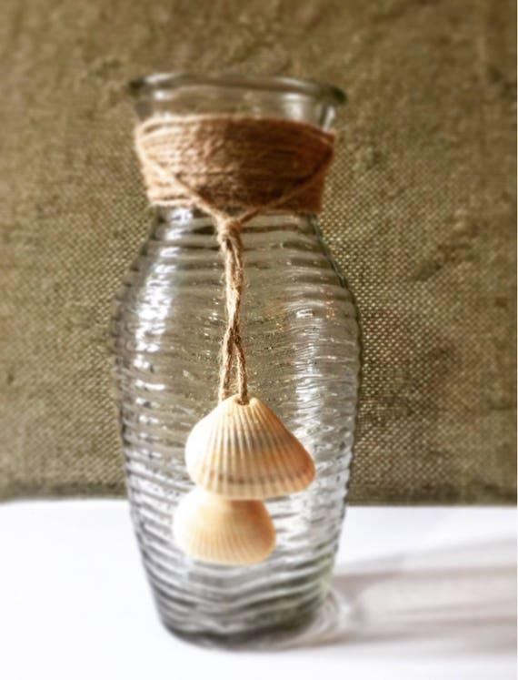 items similar to seashell vase coastal home decor glass vase wedding vases beach decor. Black Bedroom Furniture Sets. Home Design Ideas