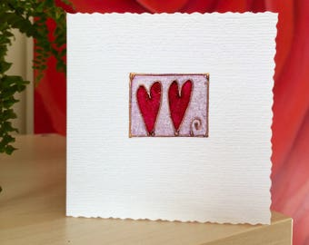 Two Hearts - Handmade card