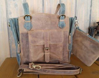Brown handbag women large handbag handmade bag laptop bag shopping bag leather bag shoulder bag bag set leather wallet brown purse