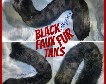 Pure Black Faux Fur Tails