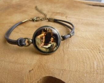 Bracelet cabochon rétro vintage  * Mère et Fille * Bracelet rétro vintage illustration victorienne