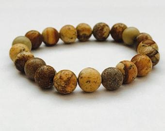 Brewn Stone beaded bracelet, brown bracelet,strech bracelet, yoga bracelet