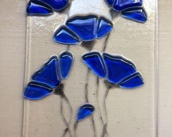 Cobalt Blue Stained Glass Flowers Fused Suncatcher