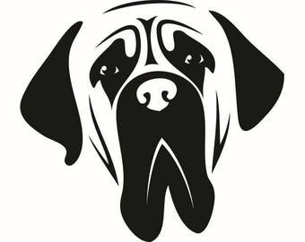 English Mastiff #1 Dog Breed K-9 Animal Pet Hound Lab Puppy Logo .SVG .EPS .PNG Digital Clipart Vector Cricut Cut Cutting Download File