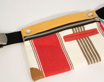 STRIPE red Fanny Pack / bum bag upcycling