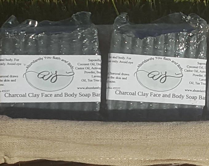 Charcoal Clay Face and Body Cleansing Soap Bar | Approximately 4 oz | Natural Soap