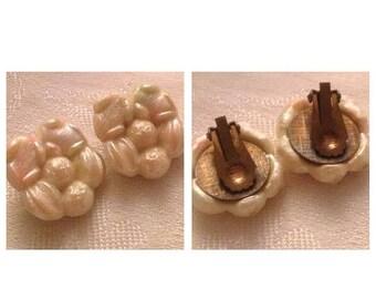 On Sale Vintage Shell Look Clip Earrings