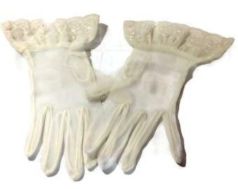Vintage Off White Nylon Gloves with Embellished Wrist