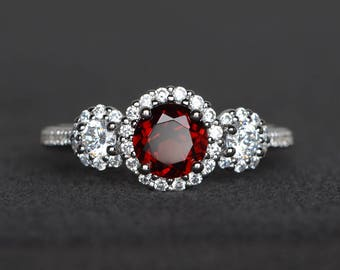 real natural garnet ring promise ring round cut red gemstone January birthstone sterling silver ring