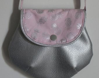 Pink pineapple purse silver for girl