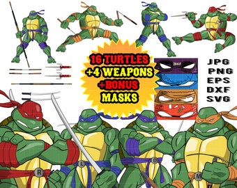 Clipart svg Tmnt Teenage Mutant Ninja Turtle svg Turtles Svg clipart Invitations Birthday party Baby shower mega pack clipart svg png mask