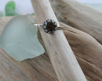 Sterling Silver Ring with Synthetic Black Opal
