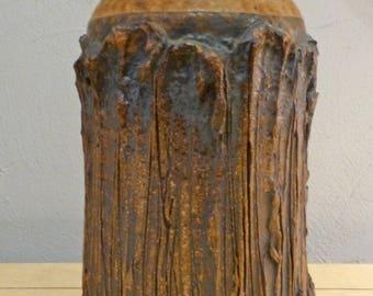"""Vintage Victoria Littlejohn 12"""" Brutalist Vase Signed Voulkos ERA California Design"""