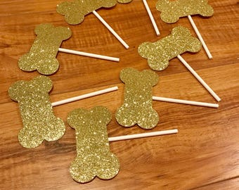 Gold Glitter Dog Bone Cupcake Topper // Puppy Party // Dog Birthday Party Decor
