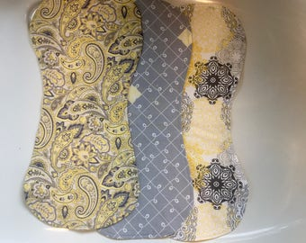 Elegant Yellow and Gray Cotton/Fleece Baby Burp Cloth Set of 3 - FREE SHIPPING