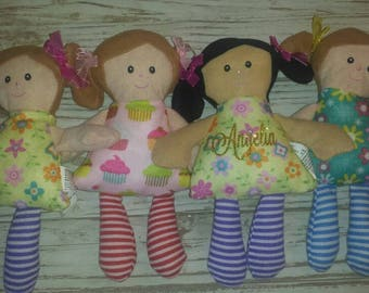 New baby gift etsy personalized rag doll personalized doll monogrammed doll babys first doll personalized first negle Images