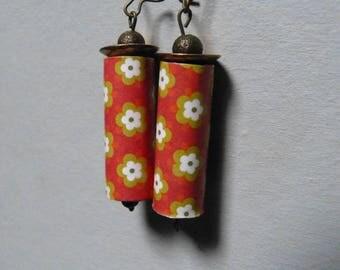 Flower paper bead earrings