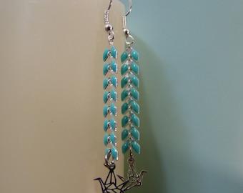 Earrings chain spike & origami