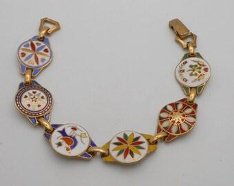 Vintage Pennsylvania Dutch Enamel Link Bracelet