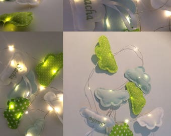 Garland light clouds in shades of green / personalized / embroidery / clouds / deco / pilot /lumineuse / nursery / child / baby / room / kid
