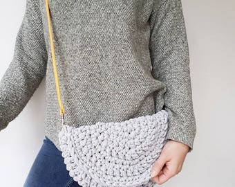 Pre Made grey crochet cotton half moon bag with mustard shoulder strap.