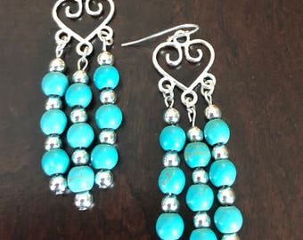 Silver Heart & Turquoise Dangle Earrings