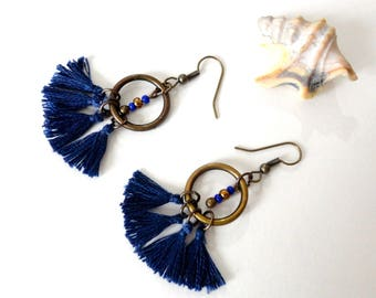 Tassels Bohemian earrings, Midnight blue, bronze hooks, bronze and blue glass beads and rings