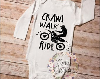 Dirt bike onesie//crawl walk ride//ride onesie//gerber onesie//fathers day gift//new baby outfit//baby shower gift//dirtbike gift//unique
